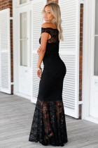 Navy Bardot Lace Fishtail Maxi mekko