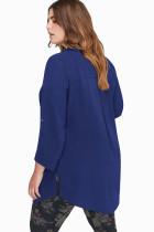 Lacivert Plus Size Zip Down Şifon Bluz