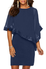 Navy Sequined Poncho Mini rochie