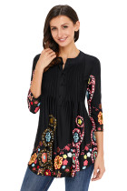Black Floral Notch Neck Pin-tuck Tunic