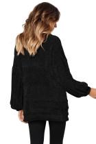 Musta pehmeä Velvet neuloa villapaita