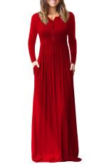 أحمر كم طويل زر أسفل عارضة فستان ماكسي
