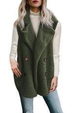 Button Detail Vihreä Lambswool Vest Jacket