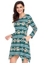 Cute Christmas Reindeer Print Grøn Swingy Mini Dress