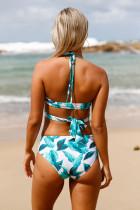 Trooppinen Print Cross Top Bikini