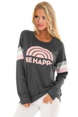Gri Mutlu Olmak Grafik Sweatshirt