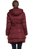 Bourgogne Bomull Quiltad Longline Hooded Coat