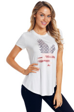 Amerîkayê Flag Eagle T-shirt White White