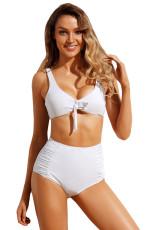 Valkoinen Tie Edestä Bikini Ruched High Waist Uimapuku