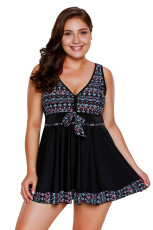 Black Tribal Print Accent Swimdress and Short Set