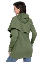 الجيش الأخضر الزنبق التفاف الرأس نمط طويل الأكمام هوديي