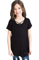 Black Crisscross V Neck Ji bo Little Girl for Short Sleeve Tee