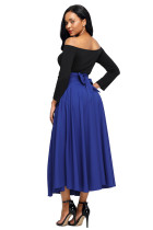 Biru Retro Tinggi Pinggang Lipit Belted Maxi Skirt