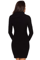 Asimetrik Düğmeli Yaka Siyah Bodycon Kazak Elbise