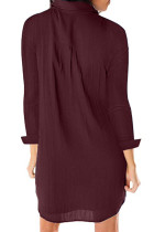 Burgundy Langermet Button Down Crepe Shirt Dress