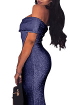 Blue Sparkle Fold Over Vestido Ombro Bodycon
