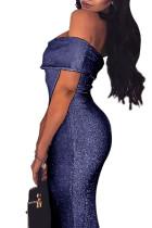 Blue Sparkle sklápěcí přes rameno Bodycon šaty