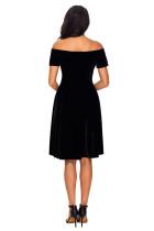 Black Velvet Off Shoulder Plissert Skater Dress