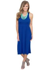 Solid Racerback Midi Jersey šaty v modrém