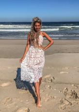 Άσπρο Lace Hollow Out Γυμνό Φόρεμα Κόμμα Illusion