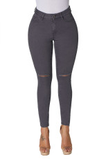 Grey Trendy Slit Knee Denim Bukser