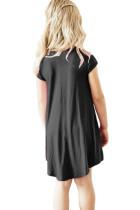 Musta korkki hihaton tunika mekko pikkuille