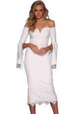 White Split Bell Sleeve Off Shoulder Midi Dress