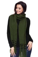 Green Cosy Chunky Knit Tassel Scarf