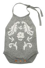 Abu-abu Childish Flower Knit Hater Infant Bodysuit