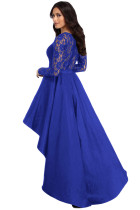 Royal Blue Long Sleeve Lace High Low Satin Prom Kjole