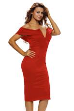 Rochie roșie de la mijlocul umărului