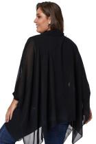 Siyah Uzun Kollu Şifon Yerleşimi Plus Size Bluz