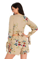 Apicot Floral Imprimare Split Sleeves Crop Top și Scurt Set