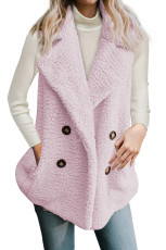 Painike Detail Pink Lambswool Vest Jacket