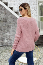 Sweater Neck Rajut Kabel Pink