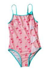 Fata de tânăr Flamingo Print Costum de baie dintr-o singură bucată