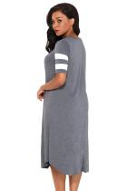 Pruhované polokošile O krk Flowy Jersey šaty v šedém