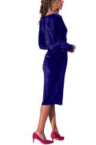 Kraliyet Mavi V Yaka Şık Kadife Midi Elbise