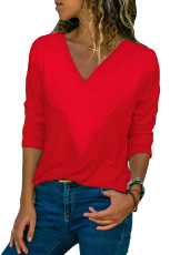 Merah Lengan Panjang V Neck Casual Top