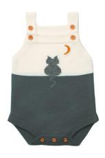 Ayın Altında Gri Kedi Pamuk Örme Bebek Bodysuit
