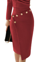 Asymmetric Button Detail Burgundy Ruched Midi Dress