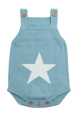 Light Blue Star Pattern Malha Infantil Romper Baby Wear