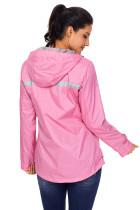 Pink Women Zipper Lapel Suit Blazer med Sammenfoldelig Muffe