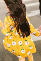 Little Girl Allover Yellow Flared Girl Dress