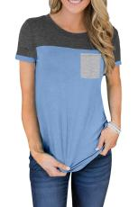 Sky Blue Color Block Pocketed T Shirt
