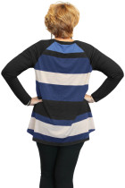 Musta Multi Colorblock Raglan Sleeve Plus Koko Naisten Top