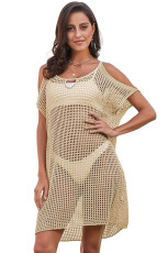 Apricot Slit Umăr Fishnet Beach Cover up