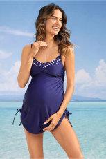 Costum de baie pentru maternitate cu rezervor albastru cu chilot