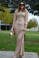 Aprikos Off Shoulder Tasseled Ermet Sequin Party Maxi kjole