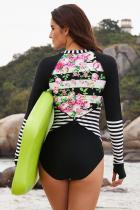 Floral Striped Patchwork Rashguard Baju renang one-piece